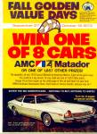 Click here to enlarge image and see more about item R1090: 1973 AMC MATADOR AD Fall Golden Value Days
