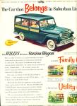 1953 WILLYS Deluxe Station Wagon Car AD
