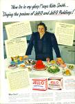 Click here to enlarge image and see more about item R1458: 1942 KATE SMITH JELLO Gelatin Pudding AD