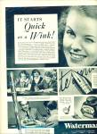 Click here to enlarge image and see more about item R1738: 1937 Waterman's PEN AD Great Photo AD
