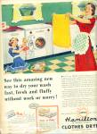 Click here to enlarge image and see more about item R2002: 1949 Hamilton Clothes Dryer AD ARTWORK