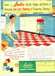 Click here to enlarge image and see more about item R2468: 1952 AMTICO Plastex FLOORING AD Kitchen DESIG