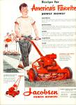 Click here to enlarge image and see more about item R2495: 1952 JACOBSEN POWER Lawn MOWER AD Cute BOY
