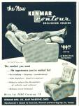 Click here to enlarge image and see more about item R2525: Kenmar contour recl9ining chairs ad - 1952