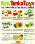 Click here to enlarge image and see more about item R2630: 1971 Tonka Toys Truck & Cars AD Christmas