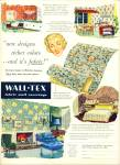 Click here to enlarge image and see more about item R2954: Wall-Tex fabric wall coverings ad - 1952