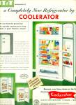 Click here to enlarge image and see more about item R3071a: 1952 COOLERATOR Refrigerator ITT AD RETRO Fri