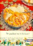 Click here to enlarge image and see more about item R3965: Birds eye slice peaches ad - 1950