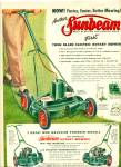 Sunbeam rotary mowers ad 1956