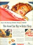 Click here to enlarge image and see more about item R4375: 1946 SIMMONS Blanket AD JON WHITCOMB ART