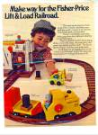 Click here to enlarge image and see more about item R4412: Fisher-Price lift and load railroad ad - 1978