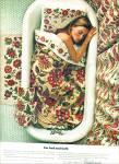 Click here to enlarge image and see more about item R4422: 1967 FIELDCREST AD Crewel Bedding LADY IN TUB