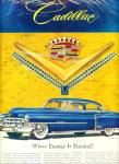 Click here to enlarge image and see more about item R4434: 1953 Chevrolet Cadillac Ad BLUE JEWEL Caddy
