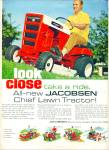 Click here to enlarge image and see more about item R4534: New chief LT 750 Jacobsen tractor ad - 1968