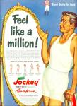 Click here to enlarge image and see more about item R5066: 1950 JOCKEY Underwear AD FELL LIKE A MILLION