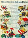 Click here to enlarge image and see more about item R5184: Fisher Price toys ad - 1971 VINTAGE TOYS