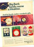Click here to enlarge image and see more about item R5332: 1967 Westclox CLOCK AD Baby Ben ++ More Model