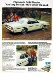 Click here to enlarge image and see more about item R6567: 1974 PLYMOUTH Gold DUSTER Car Fishing AD Slant 6