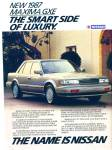 Click here to enlarge image and see more about item R7506: Nissan Maxima GXE  for 1987 ad