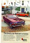Click here to enlarge image and see more about item R7507: 1974 Datsun Car automobile AD Sophistication
