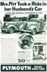 Click here to enlarge image and see more about item R7658: Plymouth automobile ad   - 1936 MRS PITT