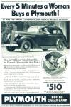 Plymouth Automobile advertising ad   - 1936 WOMAN