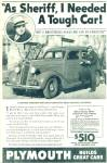 Click here to enlarge image and see more about item R7665: Plymouth 1936 automobile ad SHERIFF PAT ENOS CA