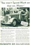 Click here to enlarge image and see more about item R7670: Plymouth automobile 1935 ad SEVERAL MODELS