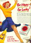 1950 LUCKY STRIKE Cigarettes AD CHEERLEADER