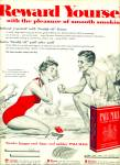 1955 Pall Mall cigarettes AD Swim COUPLE ART