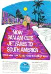 1961 Pan Am airlines ad COLORFUL Jet to SA
