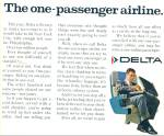 Click here to enlarge image and see more about item R9018: 1968 Delta Airlines AD ONE PASSENGER AIRLINE