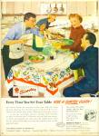 Click here to enlarge image and see more about item R9460: 1949 SIMTEX Tablecloth AD MAN IN APRON