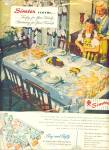 Click here to enlarge image and see more about item R9509: 1947 SIMTEX Tablecloth - Mills AD