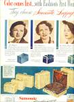 Click here to enlarge image and see more about item R9741: 1951 Samsonite Luggage AD Jo Stafford Ceil Ch