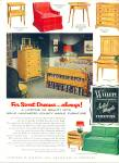 Click here to enlarge image and see more about item R9934: Willett   solid maple furniture ad 1953