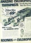 1952 - Kolynos with chlorophyll toothpaste ad