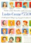 Click here to enlarge image and see more about item Z1386: Lustre Creme Movie Star Sweepstakes ad 1956
