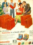 Click here to enlarge image and see more about item Z1951: 1953 Samsonite Luggage AD FAMILY ARTWORK