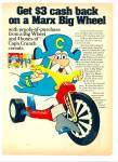 Click here to enlarge image and see more about item Z2209: Marx Big wheel - Capn' Crunch cereals ad 1974