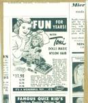 Click here to enlarge image and see more about item Z2543: 1952 IDEAL TONI DOLL DOLLS AD Nylon Hair