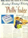1951 RECIPE AD Fudge Philly Cream Cheese