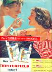 Click here to enlarge image and see more about item Z3738: 1955 CHESTERFIELD CIGARETTES AD SWIMMING COUP