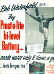 Click here to enlarge image and see more about item Z3787: 1952 Prestolite battery AD BOB WATERFIELD QB