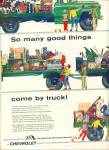 Click here to enlarge image and see more about item Z5017: 1957 Chevrolet truck ad TRUCKING INDUSTRY ART