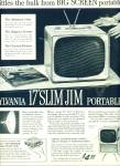 Sylvania slim Jim portable TV ad 1957
