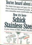 Click here to enlarge image and see more about item Z5864: Schick Stainless steel  -two great blades ad