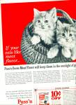 Click here to enlarge image and see more about item Z5982: Puss 'n Boots meat flavor cat food ad 1963