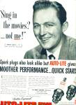 Auto lite spark plugs - BING CROSBY  ad -1952