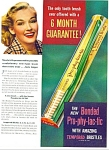 Click here to enlarge image and see more about item Z6572: Pro-phy-lac-tic tooth brush ad 1940